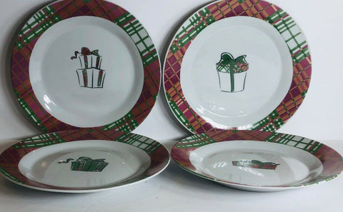 "Christmas Set Of 4 Salad/ Dessert Plates By PAI Holiday Gifts 8""D - 	Golden Gate Emporium"