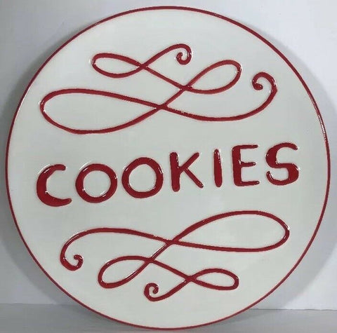 "Target Home  ""Cookies"" Ceramic Plate Red & White 9 1/4""D"
