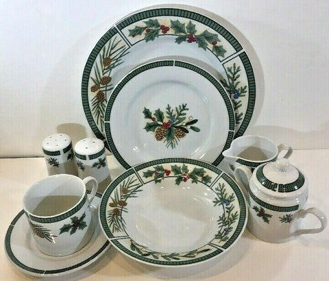 "Fairfield ""Wintergreen"" Fine China 37 Piece Service Dinnerware Set for 6 - 	Golden Gate Emporium"