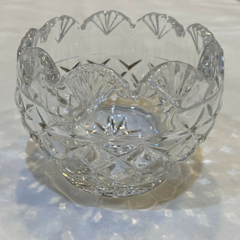 "Crystal Votive Candle Holder Cleat Glass Scalloped Candy Flower Bowl 3""W x 2""H"