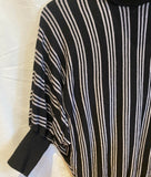 Twentyone Vintage Look Turtleneck Sweater Black and Gray Stripes Top L - 	Golden Gate Emporium