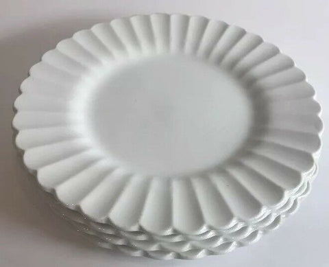 "Vintage J & G Meakin Classic White Scalloped 4 Bread Butter Plates England 7""D - 	Golden Gate Emporium"