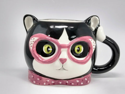 Kitty Cat 3D Ceramic Coffee Mug Pink Eye Glasses 12 Oz Cup - 	Golden Gate Emporium