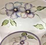 "Capriware Chip & Dip Hand-Painted Pansies 5 Sections Round Serving Platter 15"" D - 	Golden Gate Emporium"