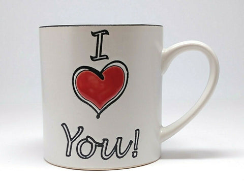 Spectrum  Eramic Coffee Mug Tea Cup « I Love You » 20 Oz - 	Golden Gate Emporium