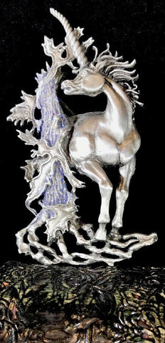 Unicorn Carved Brooch Silver Pewter Jewelry Pin by JJ Jonette - 	Golden Gate Emporium