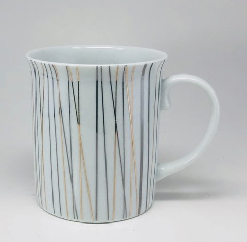 Threshold Coffee Mug Vertical lines Gold & Silver 16 Oz Porcelain Cup