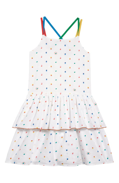 Stella McCartney Kid Girl Thin Strap Multicolor Dot Print Dress