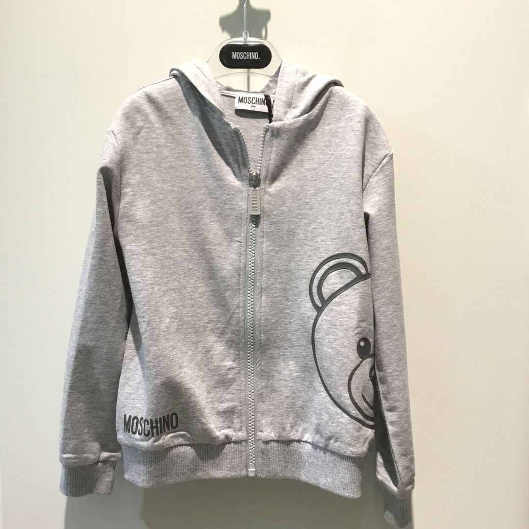 Moschino Grey Hooded Zip Up Tracksuit  with Large Bear Print