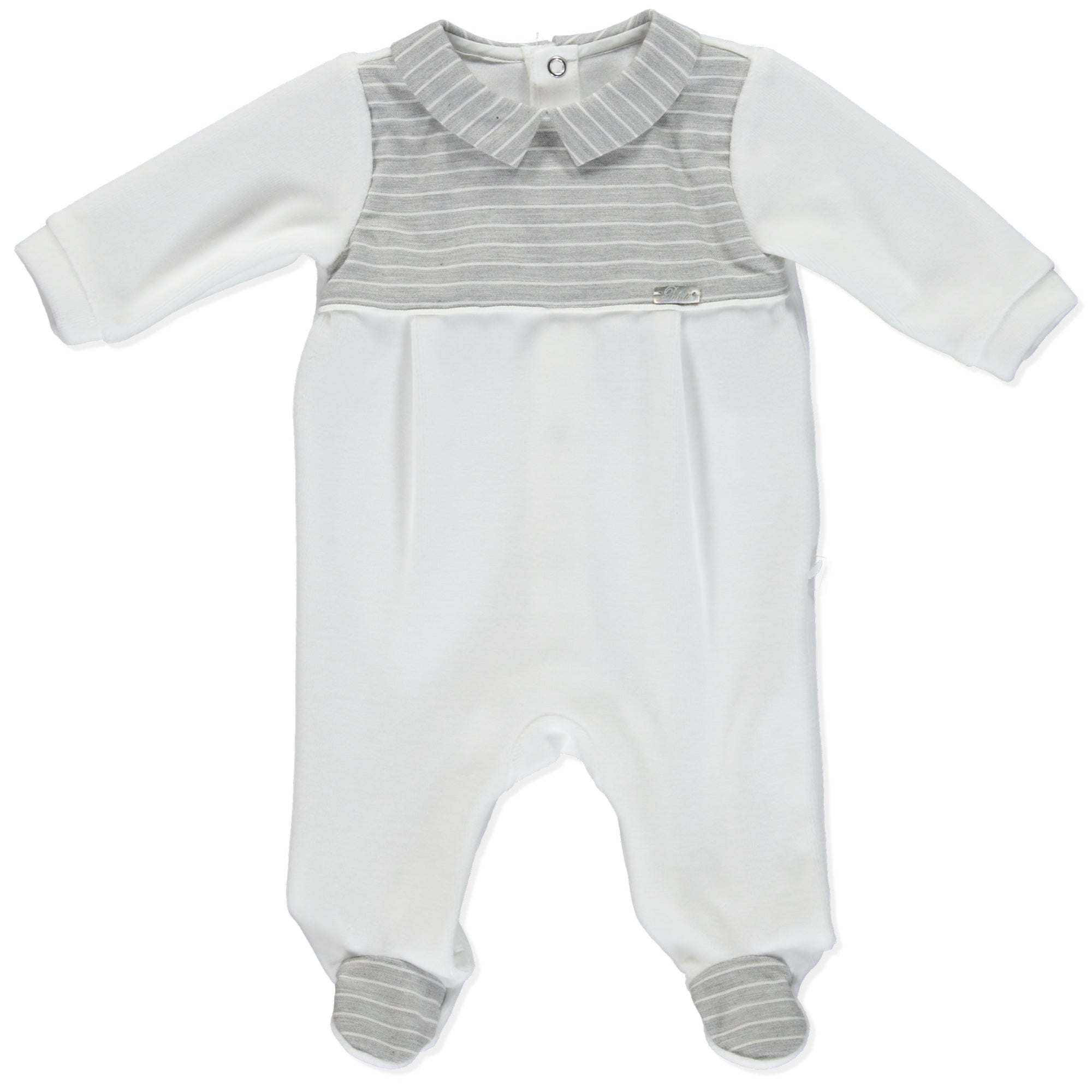 Purete Du Bebe Babygrow Grey and White stripes Essentials