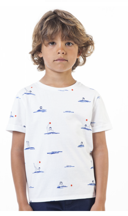 Carrement Beau White T-shirt with Swimming Print