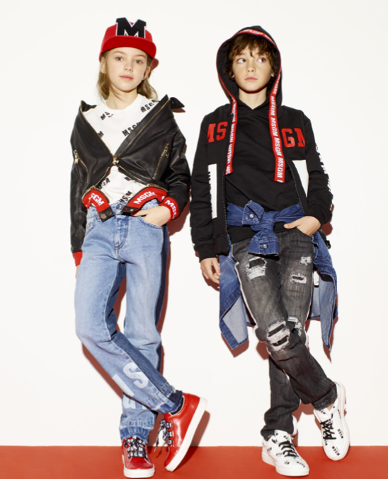 MSGM Kids Two-tone Logo Printed Jeans