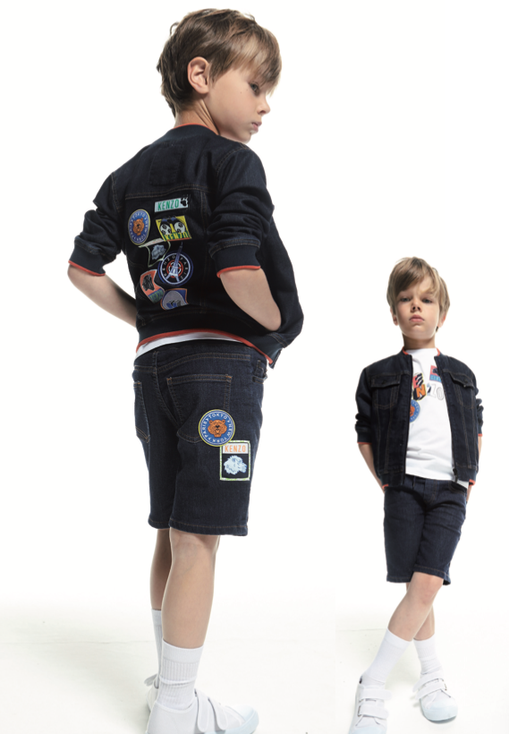 Kenzo Boy Denim Jacket with Patches