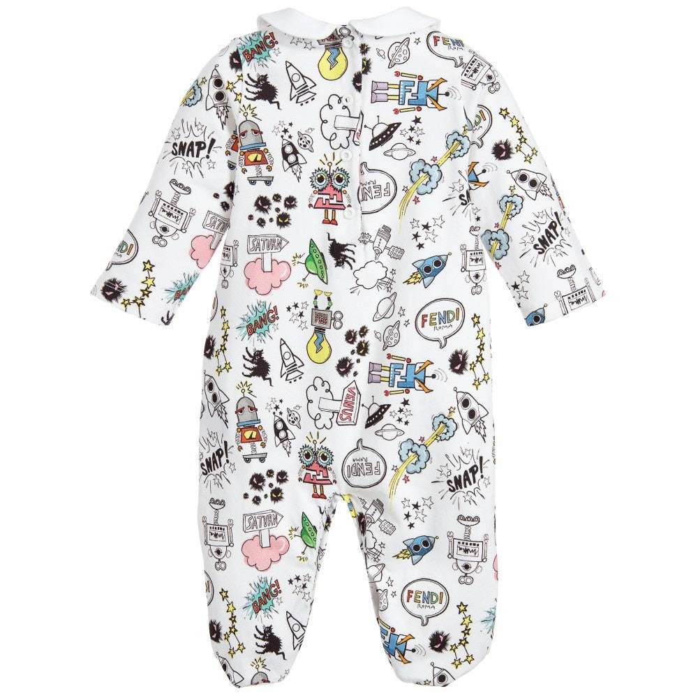 Fendi Baby Monster Space Print Babygrow White