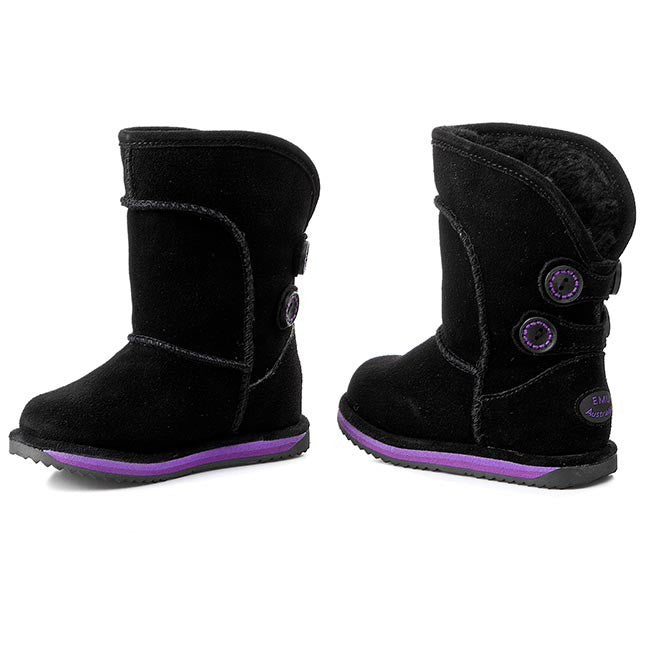 EMU Waterproof Charlotte Kids Black Snow Boots