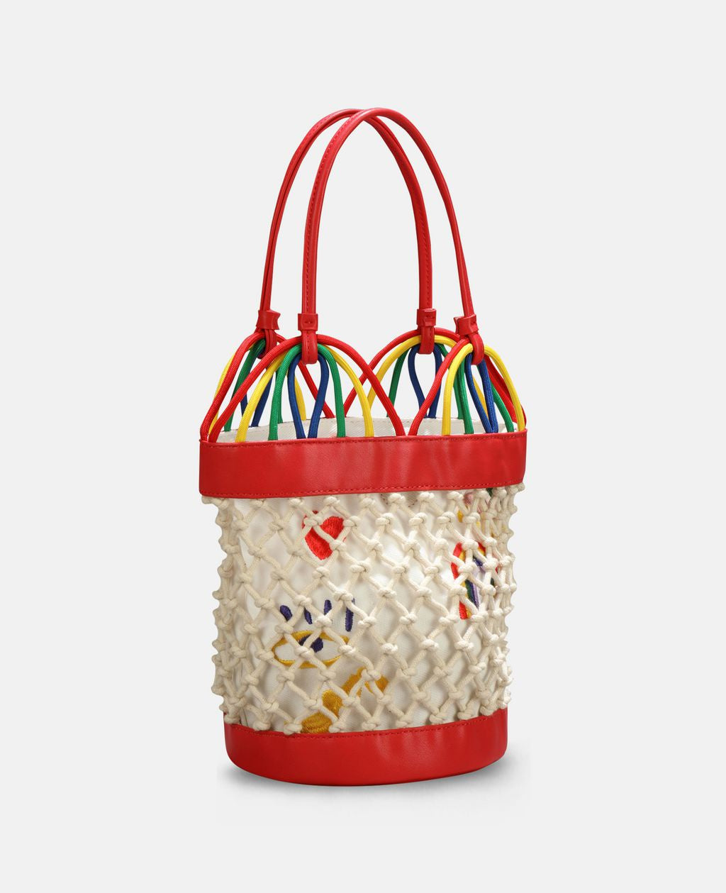 Stella McCartney Kid Girl Bucket Bag with Hearts and Rainbow