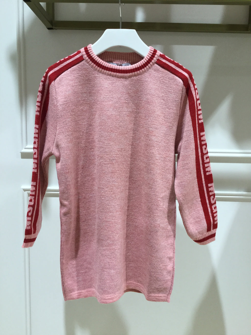MSGM Kids Pink Knitwear Sweater Dress with Logo Printed Sleeve