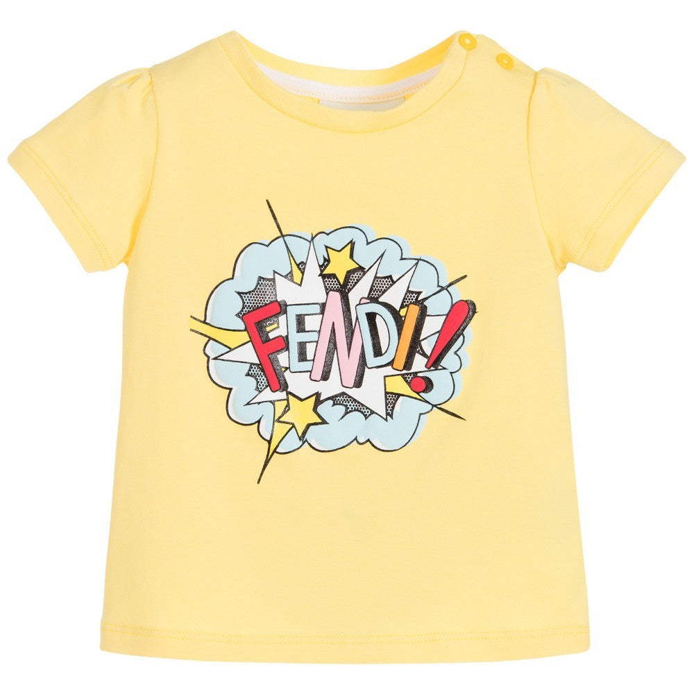 Fendi Baby Logo Print T-Shirts Yellow