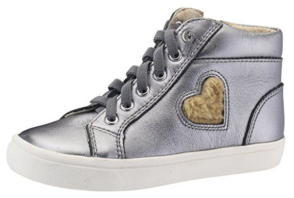 Old Soles Heart Felt High Top Sneaker Rich Silver