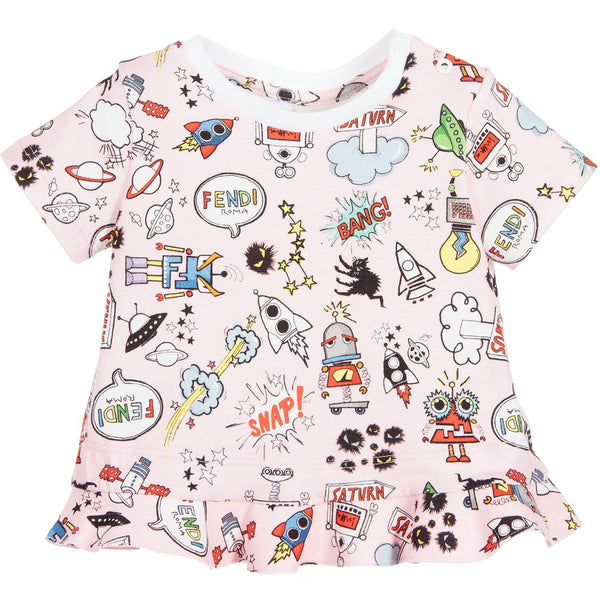 Fendi Baby Girl Printed T Shirt