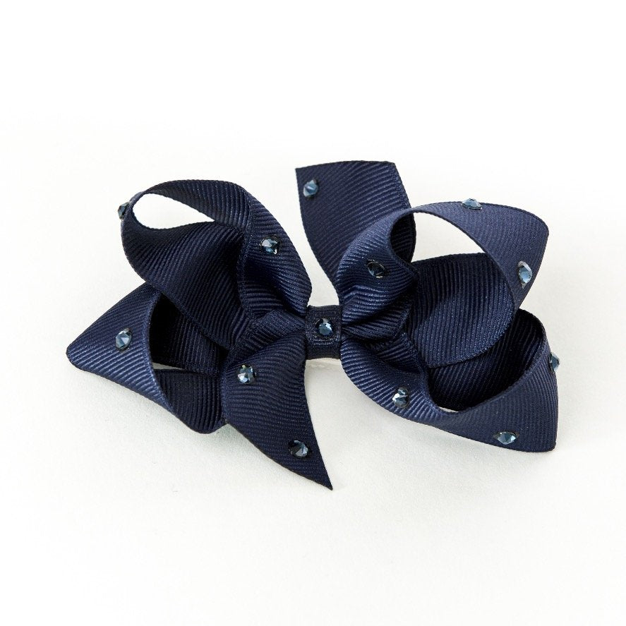 Olilia Designs Clip Classic Bow with Crystal Medium