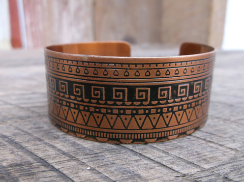 Geometric Copper Cuff, India