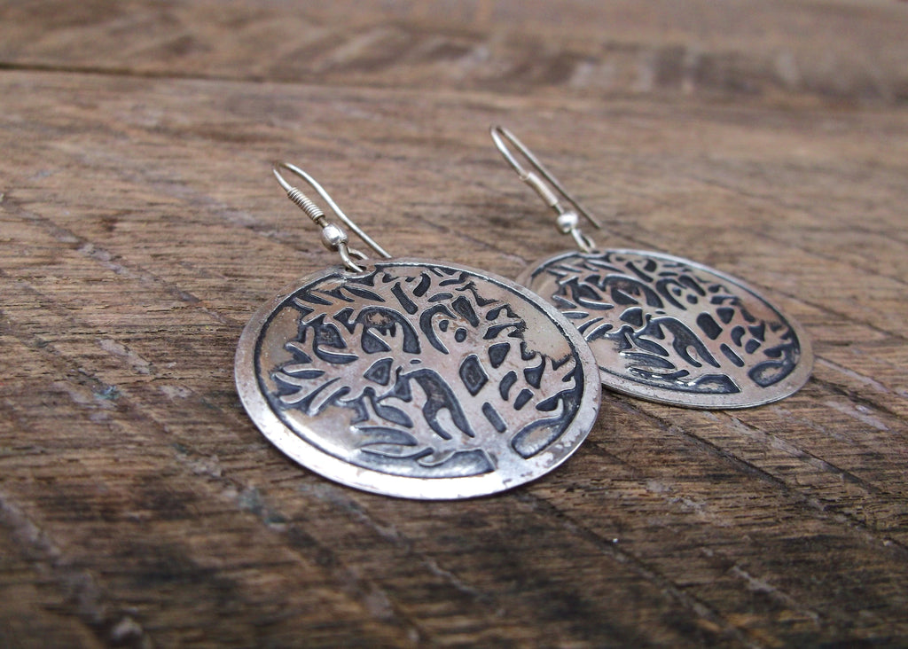 Silver Tree of Life Earrings, India