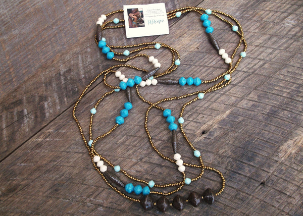 Paper Bead Trio Necklace, Uganda