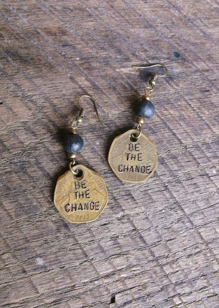 Be the Change Coin Earrings, Haiti