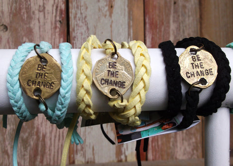Be the Change Leather Wrap Bracelets, Haiti