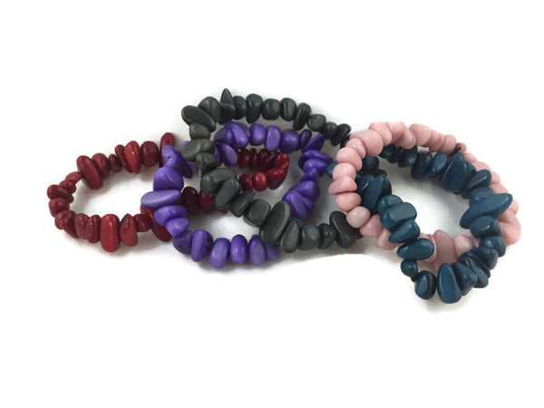 Tagua Rock Stretch Bracelet, Ecuador