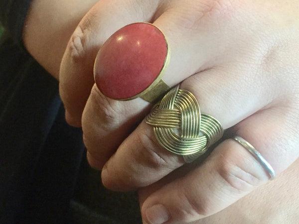 Large Red Gold Ring, India