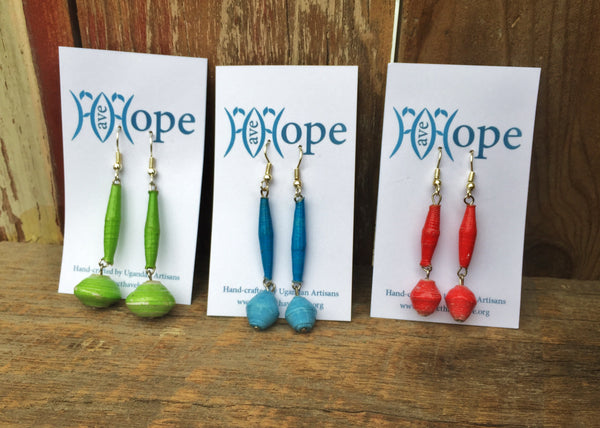 Paper Bead Dangle Earrings, Uganda