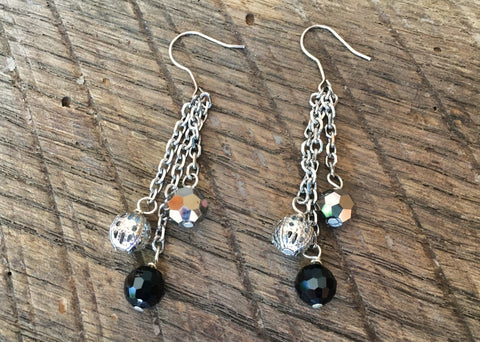 Black Onyx & Bali Bead Earrings, Asia