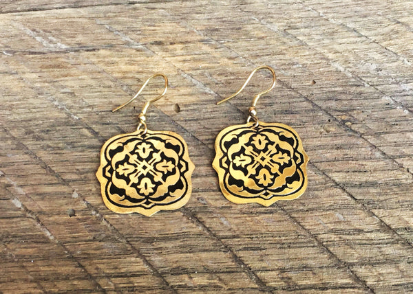 Gold Arabesque Earrings, India