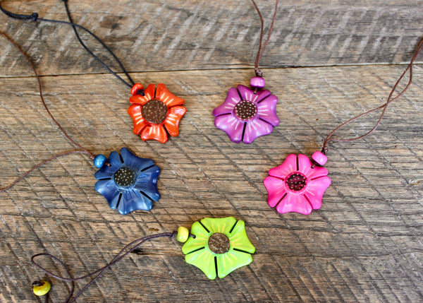 Tagua Flower Necklace, Ecuador