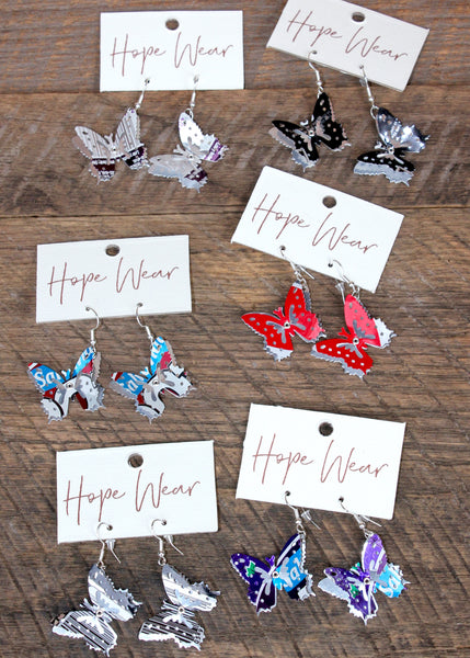 Recycled Butterfly Earrings, Guatemala