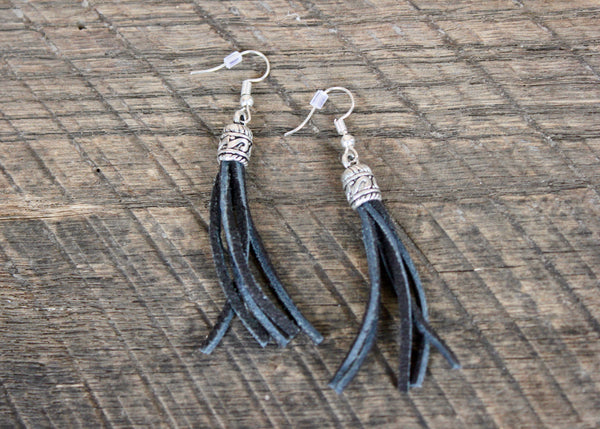 Black Leather Tassel Earrings, Eswatini