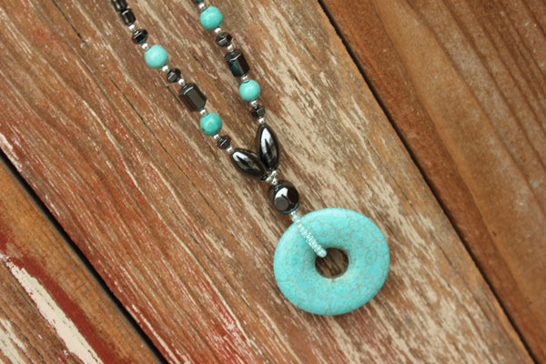 Turquoise Circle Necklace, Belize