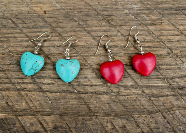 Stone Heart Earrings, Thailand