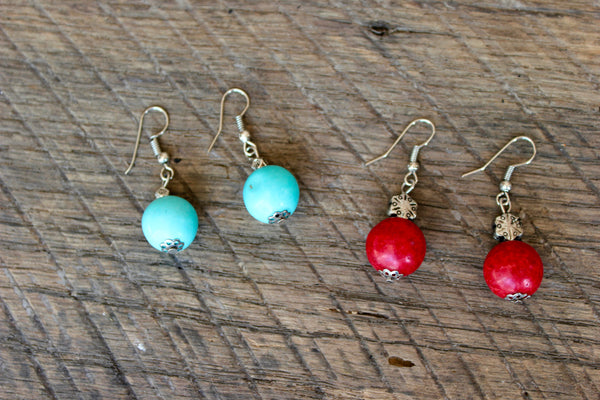 Turquoise or Red Ball Earrings, Thailand