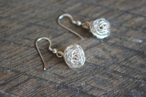 Silver Tumbleweed Earrings, Thailand