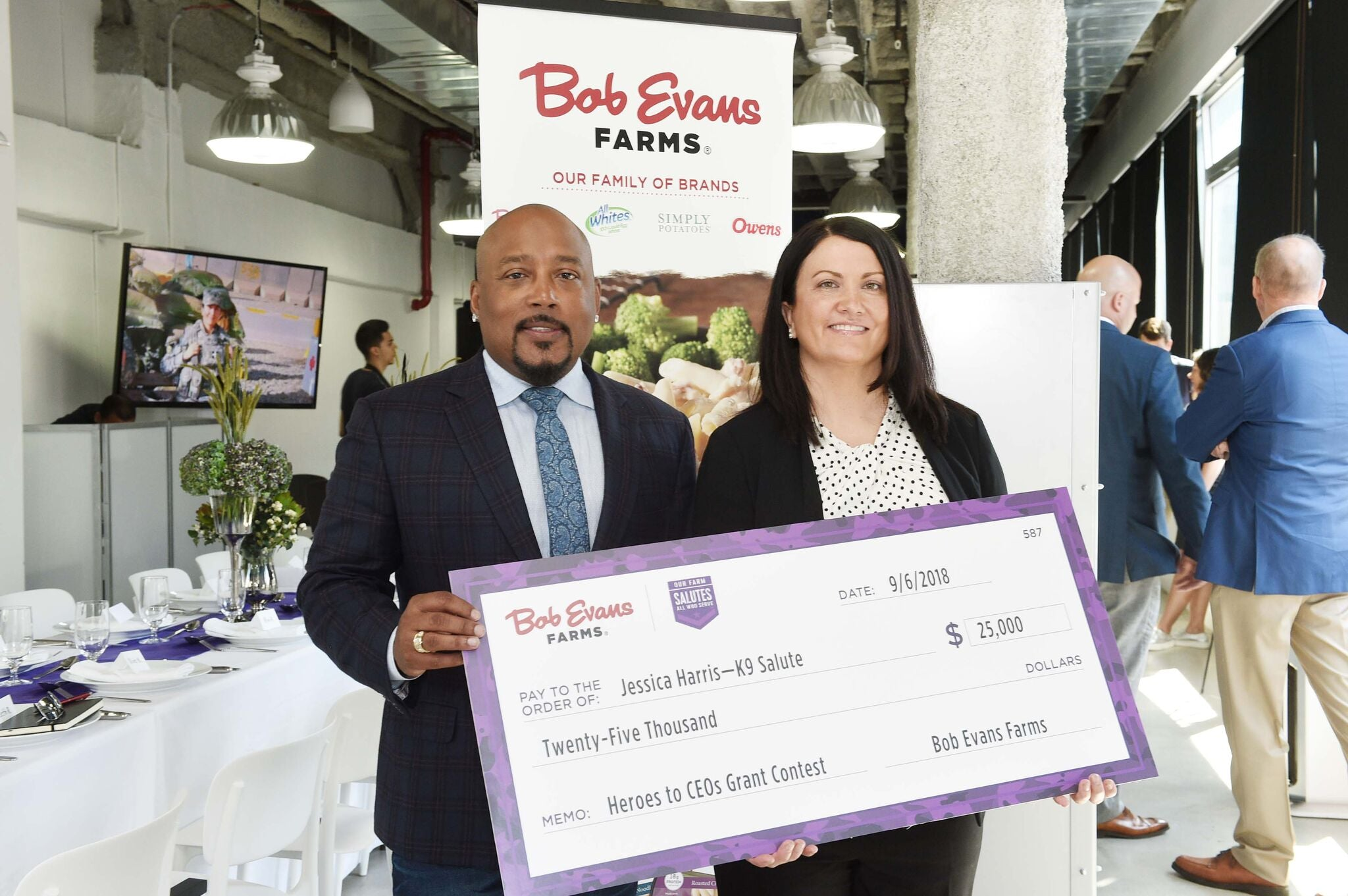 K9 Salute was selected as a 2018 winner of the Bob Evans Farms Heroes to CEOs contest