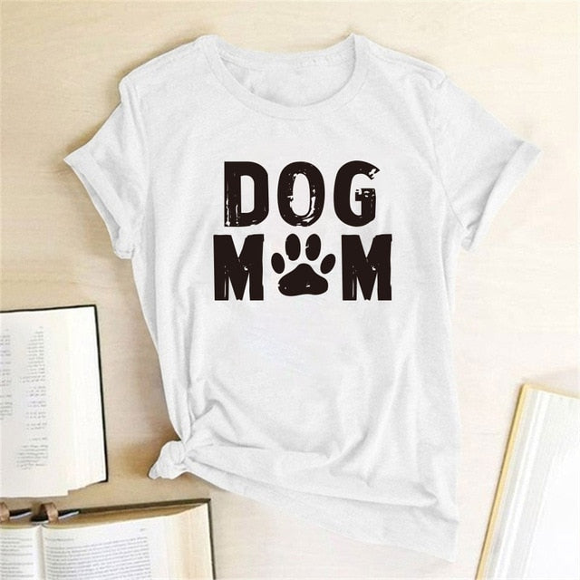 """Dog Mom"" Paw Print T-Shirt - BowWowAgility"