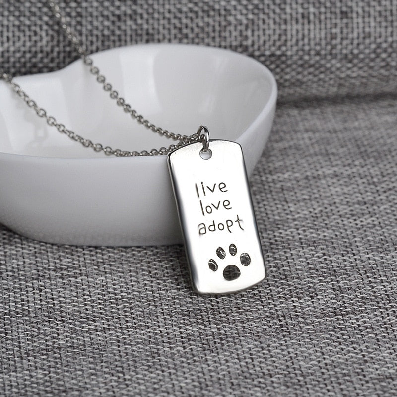 """Live Love Adopt"" Dog Tag Pendant Necklace - BowWowAgility"