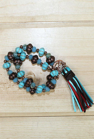 Turquoise and Bronze Tassel Bracelet