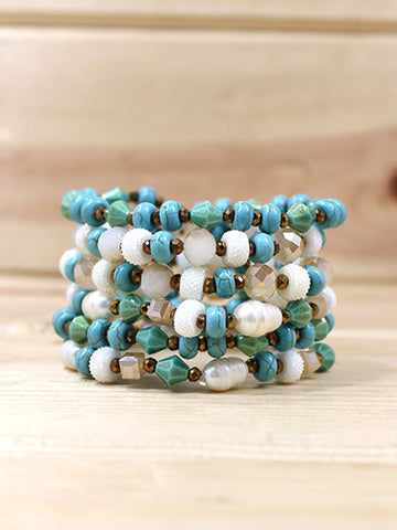 Pearl and Turquoise Beaded Stretch Bracelet