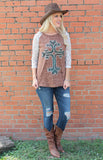 Tina's Cross Brown/Turquoise Raglan with Lace Sleeves