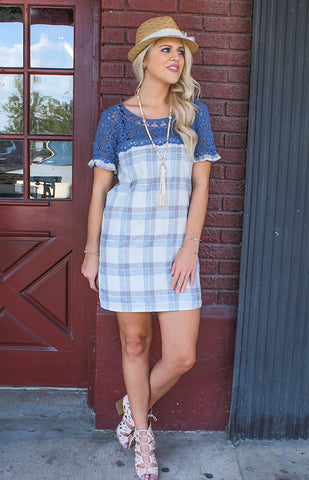 Cotton Check Shift Dress with Lace Accent