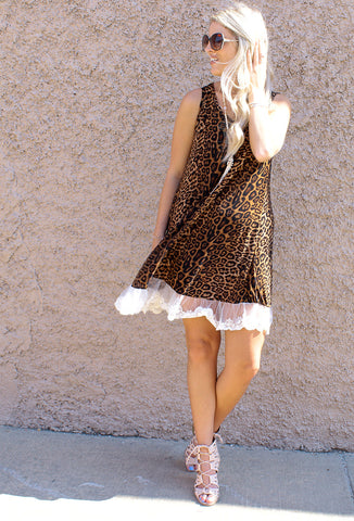 Leopard Tunic Dress with Lace Trim